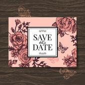 Vintage wedding invitation with rose flowers.  — Stockvektor