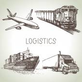 Hand drawn logistics and delivery sketch icons set — Vector de stock