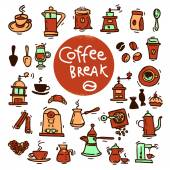 Sketch doodle coffee icon set. — Stock Vector