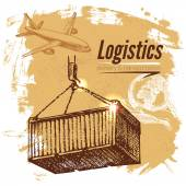 Sketch logistics and delivery background — Stock Vector