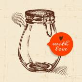 Rustic mason canning jar. Vintage hand drawn sketch design. — Stock Vector
