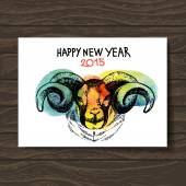Happy New Year and Merry Christmas card. Watercolor hand drawn — Stockvektor