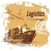 Sketch logistics and delivery background — Vetor de Stock