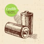 Sketch ecology vintage background — Stock Vector