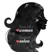 Watercolor fashion beautiful woman silhouette.  — Stock Vector