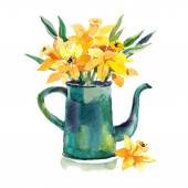 Hand drawn  coffeepot with flowers. — Stock Vector