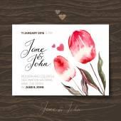 Προσκλητήριο με ακουαρέλα λουλούδια — Διανυσματικό Αρχείο