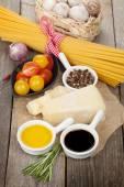 Cheese, pasta, tomatoes — Stock Photo