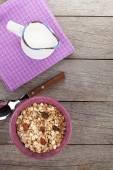 Healthy breakfast with muesli and milk — Stock Photo