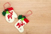 Christmas mitten and sock decor — Stock Photo