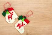 Christmas mitten and sock decor — Stock Photo