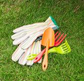 Garden tools over green grass — Stock Photo