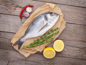 Fresh dorado fish cooking with spices and condiments — Stock Photo