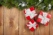 Christmas fir tree with gift boxes — Stock Photo