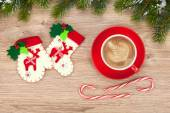 Christmas decor and coffee cup — Stok fotoğraf