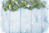 Old wood texture with snow and firtree — Stock Photo