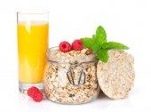 Healty breakfast with muesli, berries and orange juice — Stock Photo