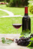 Red wine glass and bottle with bunch of grapes — Stock Photo