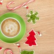 Christmas decor and coffee cup — Stock Photo #56528059