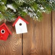 Christmas fir tree and birdhouse decor — Stock Photo #56528259