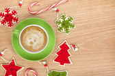 Christmas decor and coffee cup — Foto de Stock