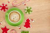 Christmas decor and coffee cup — Foto Stock