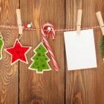 Snow fir tree, photo frame and christmas decor — Stock Photo #57141311
