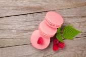 Pink raspberry macaron cookies — Stock Photo