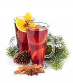 Christmas mulled wine with spices and fir tree — Stock Photo