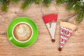Christmas decor and coffee cup — Photo