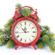 Christmas clock and snow fir tree — Stok fotoğraf #57722351