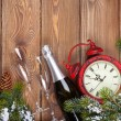Christmas wooden background with clock — Stock Photo #57722449