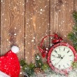 Christmas wooden background with clock — Stock Photo #57722763