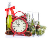 Champagne and christmas clock — 图库照片