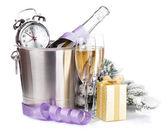 Jul champagne med väckarklocka — Stockfoto