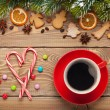 Coffee cup and christmas food — Stock Photo #58272875