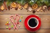 Coffee cup and christmas food — Stockfoto