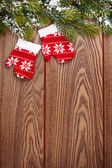 Christmas mitten decor — Stock Photo