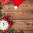 Christmas background with clock, — Stock Photo #58421463