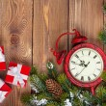 Christmas clock with snow fir tree — Stock Photo #58421465