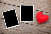 Photo frames and  toy heart — Stock Photo