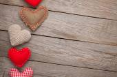 Valentines day background with toy hearts — Stock Photo