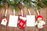 Snow fir tree and christmas decor — Stockfoto