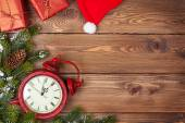 Christmas background with clock, — Stock Photo