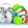 Dumbbells, tape measure and alarm clock — Stock Photo #58859631