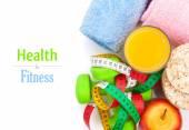 Dumbbells, tape measure, healthy food — Stock Photo