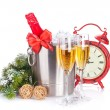 Champagne, christmas clock and fir tree — Stockfoto #59297509