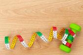 Dumbells and tape measure — Foto de Stock