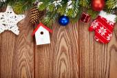Christmas wooden background with fir tree — ストック写真