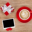 Blank photo frame, gift box and red coffee cup — ストック写真 #60346709